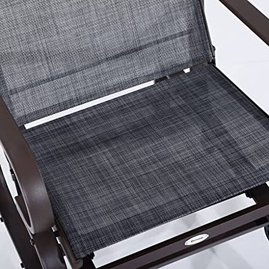 Outsunny Swinging Glider Lounging Chair w/Smooth Rocking Arms & Lightweight Construction for Patio & Backyard (Grey)