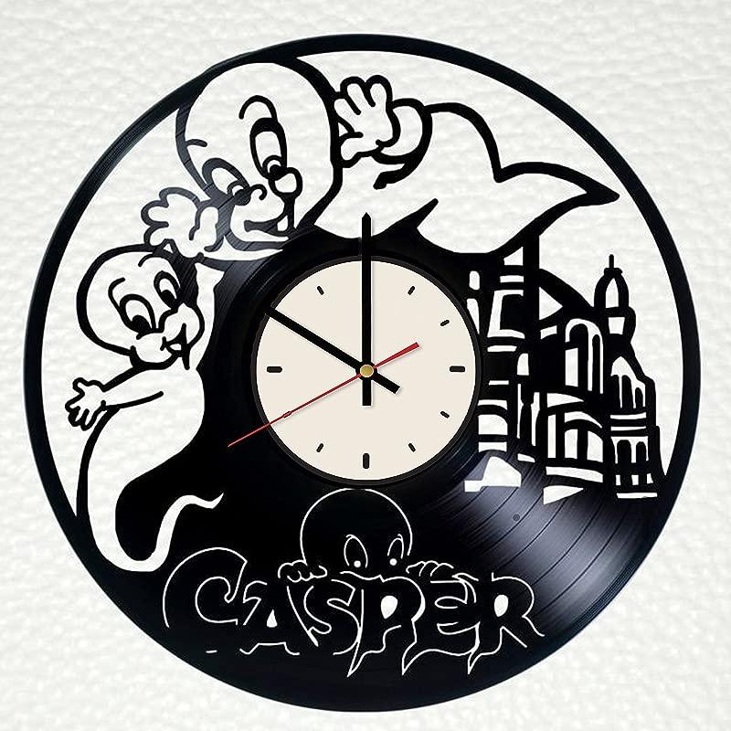 Friendly Ghost Casper Vinyl Record Wall Clock Artwork Gift Idea For Birthday Christmas Women Men Friends Girlfriend Boyfriend And Teens Living Kids Room Nursery