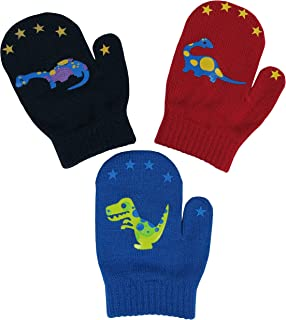 N'Ice Caps Toddler Boys and Infants Magic Stretch Mittens 3 Pairs Assortment