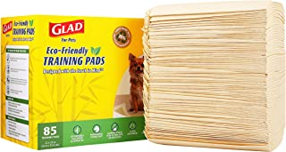 Glad for Pets Earth Friendly Bamboo Training Pads | Eco Friendly Puppy Pads for All Dogs | 85 Super Absorbent Puppy Training Pads, Deodorizing Dog Training Pads for Pets
