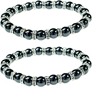 Women's Magnetic Hematite Bracelets with Shiny Rhinestones by PURPLE WHALE| Heals Arthritis and General Pain, Gemstones for Healthy Blood Circulation – Set of 2