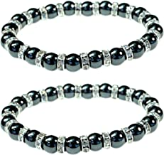 Women's Magnetic Hematite Bracelets with Shiny Rhinestones by PURPLE WHALE  Heals Arthritis and General Pain, Gemstones for Healthy Blood Circulation – Set of 2
