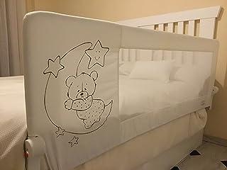 comprar comparacion Barrera de cama para bebé, 180 x 66 cm. Modelo osito y luna gris. Barrera de seguridad.para bebes.