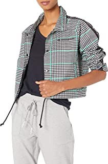 Champion LIFE Womens JL850P Cropped Coaches Jacket - Houndstooth AOP Warm Up Jacket - White