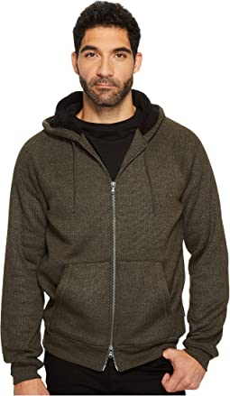 John Varvatos Star U.S.A. - Knit Hoodie with Sherpa Lined Hood and Elbow Patches