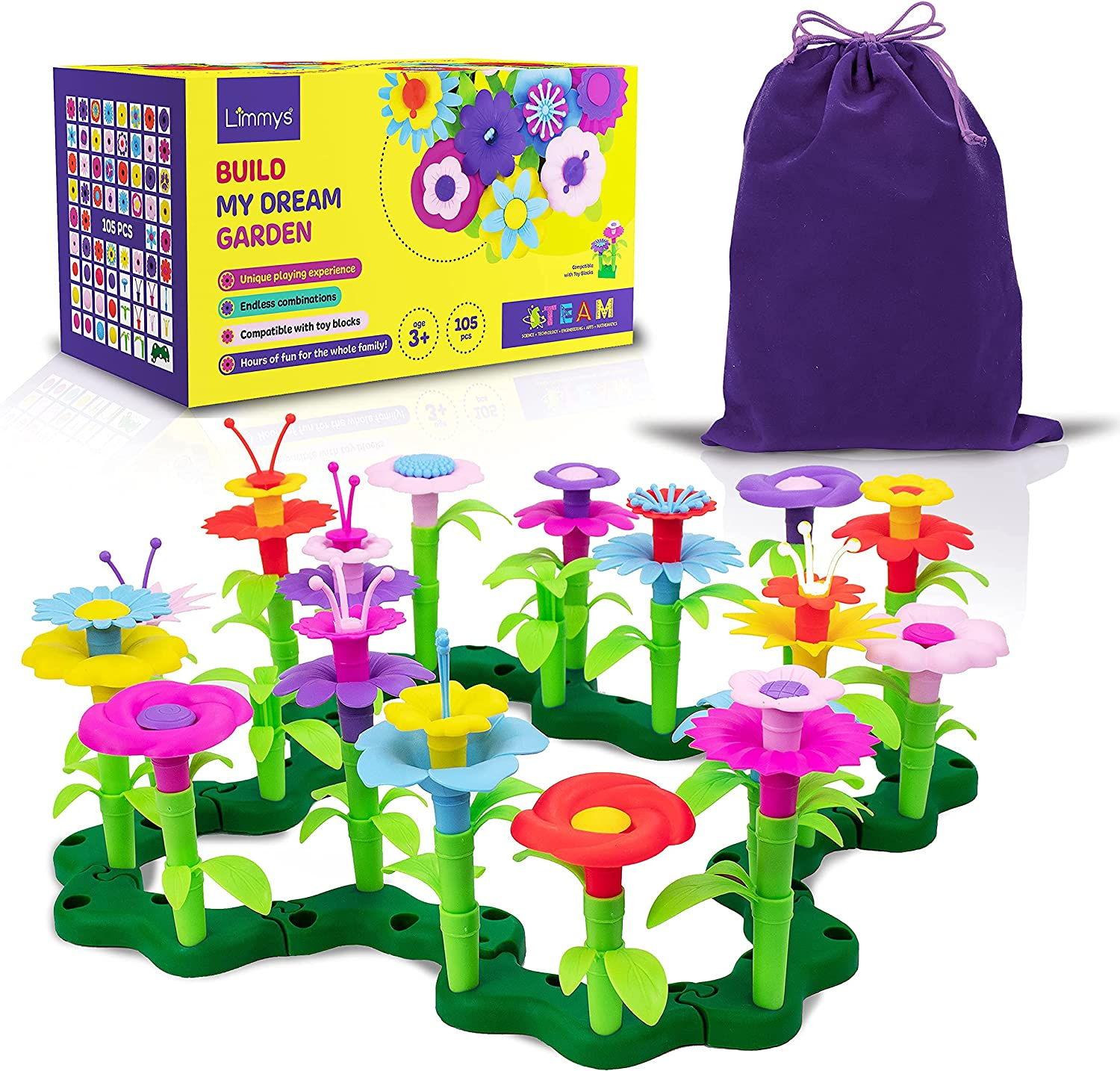 Limmys 105 Piece Build My Dream Garden Toys - STEM Toys for 3 Year Old Girls and Above - Includes Velvet Drawstring Storage Bag - Compatible with Building Blocks