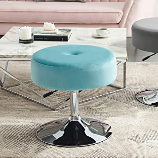 Art Leon Vanity Stool Large, Modern Round Velvet Upholstered Makeup Vanity Stool, Tuft Foot Rest Ottoman Stool with Adjustable Swivel Metal Base for Bathroom/Living Room/Bedroom/Office (Light Green)