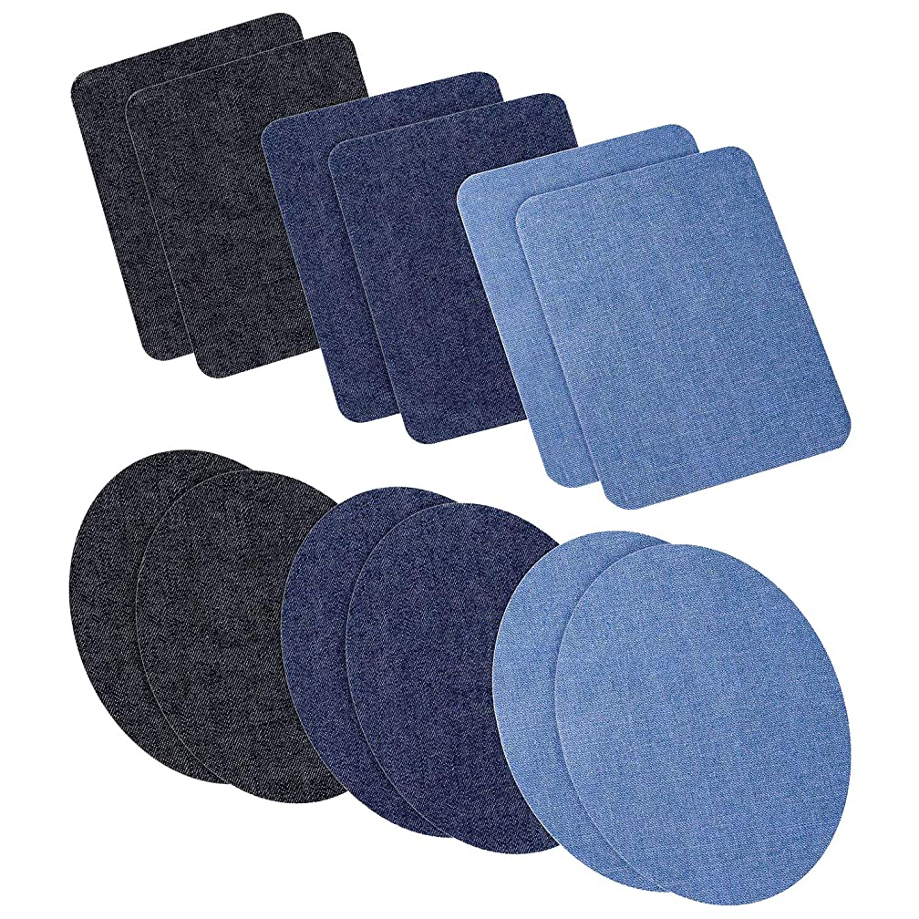 Iron On Patches,12 PCS Denim Iron on Patches for Assorted Clothing Jeans Repair Kit. 3 Colors 4.9