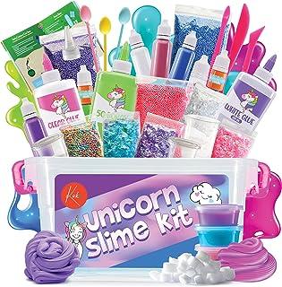 Kicko Unicorn DIY Slime Making Set - 88 Piece Kit with Storage Box - Fluffy, Beads, Glitter, Glue, Glow in The Dark, Color...