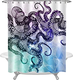 MitoVilla Black Hipster Octopus Shower Curtain Set for Animal Home Decorations, Retro Kraken Tentacle on Colorful Backdrop Bathroom Accessories for Summer, Heavy Duty Washable Fabric, 72 W x 78 L