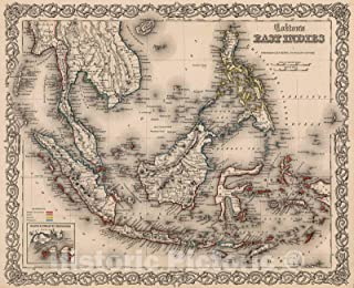 Historic Pictoric Map : East Indies, 1861, Vintage Wall Decor : 54in x 44in