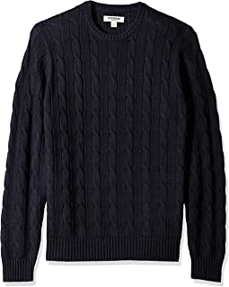 Amazon Brand - Goodthreads Men's Soft Cotton Cable Stitch Crewneck Sweater