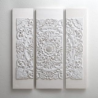 Wooden Mandala Grey Wood Grey Canvas Wal Multi Size White MP95A-0115