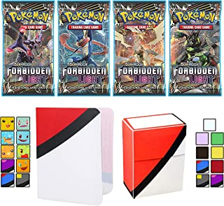Totem World 4 Sun and Moon Forbidden Light Booster Packs with a Totem Deck Box & Mini Binder Collectors Album for Pokemon Cards GX Rare Holo Common or Uncommon TCG
