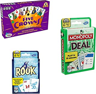 Bundle Includes 3 Items - Five Crowns Card Game and Monopoly Deal Card Game and Rook Card Game