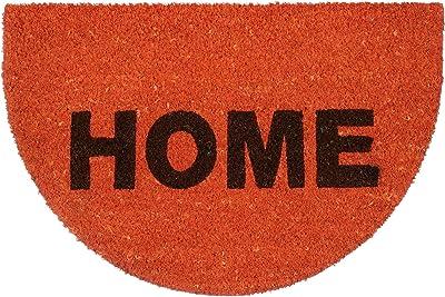 "Relaxdays Half-Moon ""Home"" Doormat Made of Coir 60 x 40 cm Natural Coconut Fibre & Rubber Anti-Slip Welcome Mat, Orange"