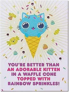 Funny Adorable Kitten Birthday Card with Rhinestones