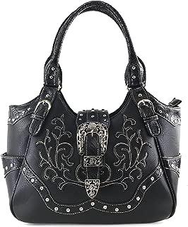 Western Floral Embroidery Studs Bling Rhinestone Buckle Shoulder Concealed Carry Handbag Purse