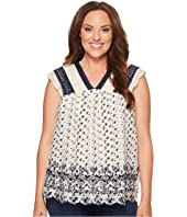 Lucky Brand - Plus Size Printed Embroidered Flutter Top