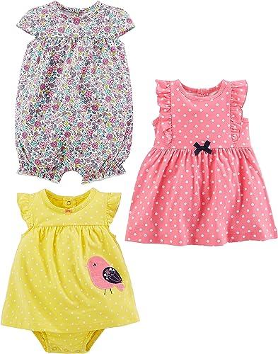 Simple Joys by Carter's Bébé fille 3-pack Romper, Sunsuit and Dress , Lot de 1
