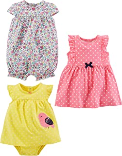 Simple Joys by Carter's Bébé fille 3-pack Romper, Sunsuit and Dress , Lot de 1