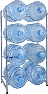 Ationgle 5 Gallon Water Cooler Jug Rack for 8 Bottles, 4-Tier Detachable Water Bottle Holder Heavy Duty Q235 Carbon Steel Water Jug Organizer with Floor Protection for Kitchen Office Home