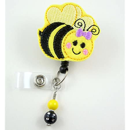 Flower and bee badge holder spring badge Bee keeper badge holder honey bee badge