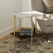 WE Furniture AZF20SSQSTMGD Mid Century Modern Square Side End Accent Table Living Room, 20 Inch, White Marble/Gold