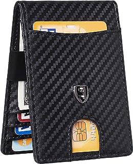 Mens Bifold Wallet Money Clip RFID Blocking Travel Wallet Credit Card Holder(Weaved Black)