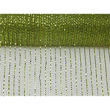 10 Inch x 30 Feet Deco Poly Mesh Ribbon Moss Green Non Metallic, 10 Inch