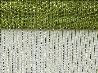 Floral Supply Online - 10 inch x 30 feet Metallic Deco Poly Mesh Ribbon (Moss, 10