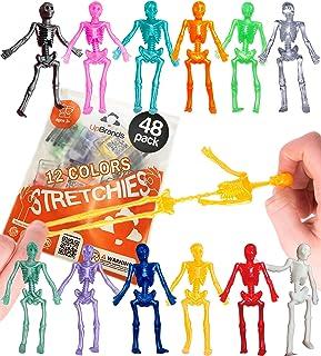 UpBrands 48 Stretchy Toys, Party Favors for Kids Halloween Skeletons, 12 Colors Bulk Set, Kit for Easter Egg Basket Stuffe...