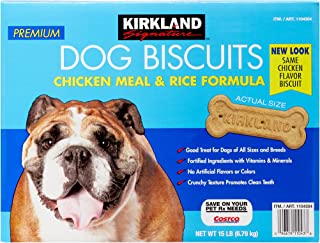 Kirkland Signature Premium Dog Biscuits Chicken Meal & Rice Forumla All Sizes & Breeds - 15 lbs.