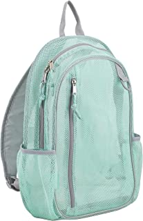 Active Mesh Backpack with Padded Adjustable Straps, Mint/Soft Silver