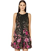 Marchesa Notte - Sleeveless Metallic Fils Coupé Tunic w/ Ruffle Hem