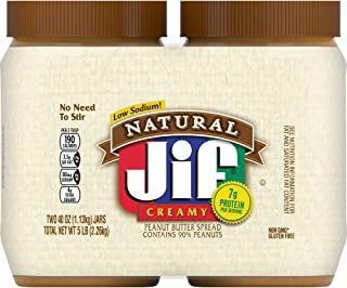 Jif Natural Creamy Peanut Butter Twin Pack, 2-40 Ounces (Pack of 4), 7g (7% DV) of Protein per Serving, Smooth, Creamy Tex...