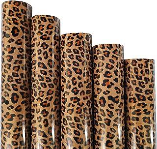 "ZAIONE 5pcs/Set 12"" x 9.8"" Sheets Brown Leopard Pattern Heat Transfer Vinyl Wild Animal Print Iron-on HTV Craft Film Garme..."