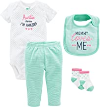 Simple Joys by Carter's Baby Girls' 4-Piece Bodysuit, pant, Bib and Sock Set