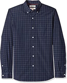 Men's Slim-Fit Long-Sleeve Plaid Poplin Shirt with Button-Down Collar