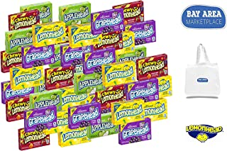 Lemonhead Bulk Variety Sampler (Lemonheads, Appleheads, Grapeheads, Chewy Lemonheads Fruit Mix). Bay Area Marketplace Shopping Tote Bag Included with Purchase!!!