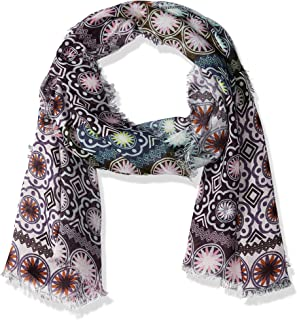 LAUNDRY BY SHELLI SEGAL Women's Ethnic Tile Embroidered Scarf Wrap, pink Gin, One Size