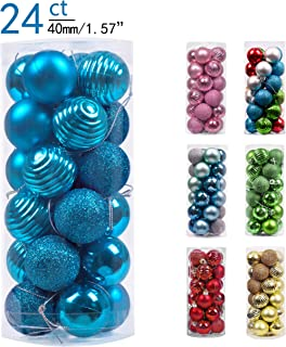 Valery Madelyn 24ct 40mm Essential Blue Basic Ball Shatterproof Christmas Ball Ornaments Decoration for Christmas Tree