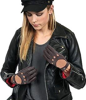 Deerskin Biker Gloves For Mens - Women Real Leather Motorcycle Riding Gloves