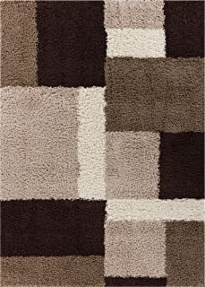 Well Woven Madison Shag Cubes Beige / Brown Modern Area Rug 5' X 7'2''
