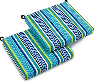Blazing Needles Outdoor Spun Poly 19-Inch by 20-Inch by 3-1/2-Inch All Weather UV Resistant Zippered Cushions, Pike Azure, Set of 2