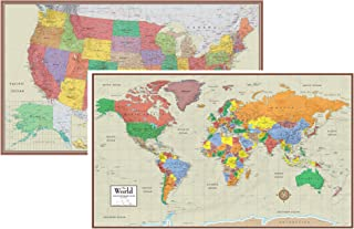 Swiftmaps World and USA Contemporary Elite 3D Two Wall Map Set