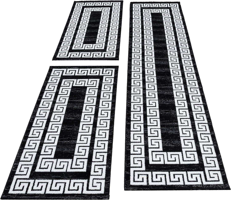 HomebyHome Moderner Kariert Design Konturschnitt Teppich 3TLG Bettumrandung Läufer Set Schlafzimmer Flur Greek Bordure Schwarz Weiss meliert, Bettset 2 x 80x150 cm + 1 x 80x300 cm B07KNWHFPL