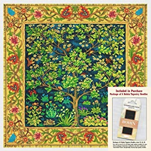 Wm Morris Garden Earthly Delight Border Counted Cross Stitch Pattern with Needles