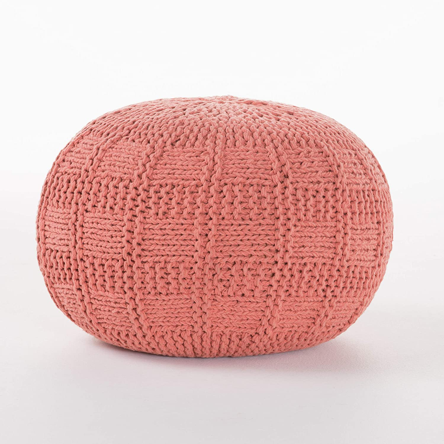 Christopher Knight Arlington Mall Home Yuny Coral Manufacturer OFFicial shop Fabric Pouf