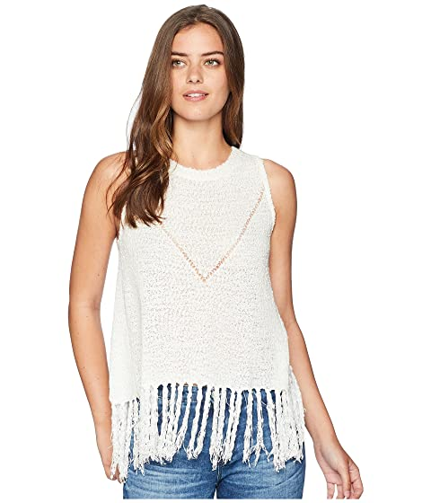 MISS ME Loose Knit Fringe Top, White